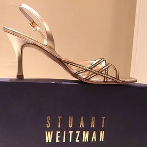 Stuart Weitzman Volts Gold Dressy Sandal Heel 8.5